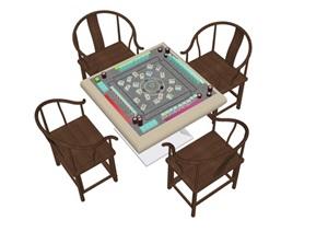传统中式麻将桌SU(草图大师)精品模型