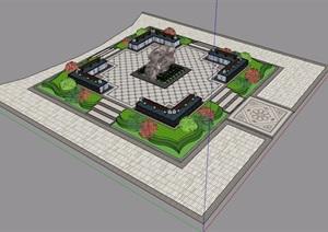 某详细的台阶小场景素材设计SU(草图大师)模型