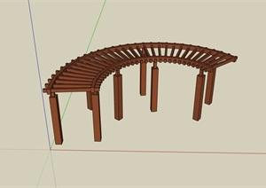 详细的防腐木廊架SU(草图大师)模型