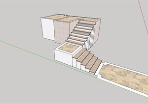 某楼梯台阶素材设计SU(草图大师)模型