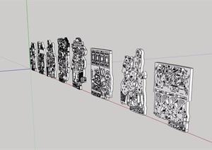 八大怪剪纸雕塑小品设计SU(草图大师)模型含cad方案