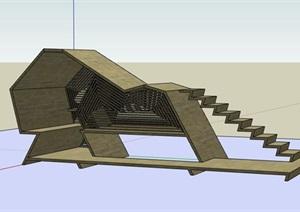 创意概念性参数化木构筑建筑小品休息闲坐凉亭