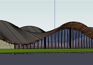 参数化曲面翻转涌动屋顶木构凉亭游客休息中心公园文化小建筑