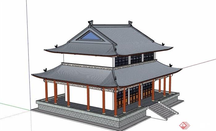 古典中式风格详细两层寺庙建筑su模型