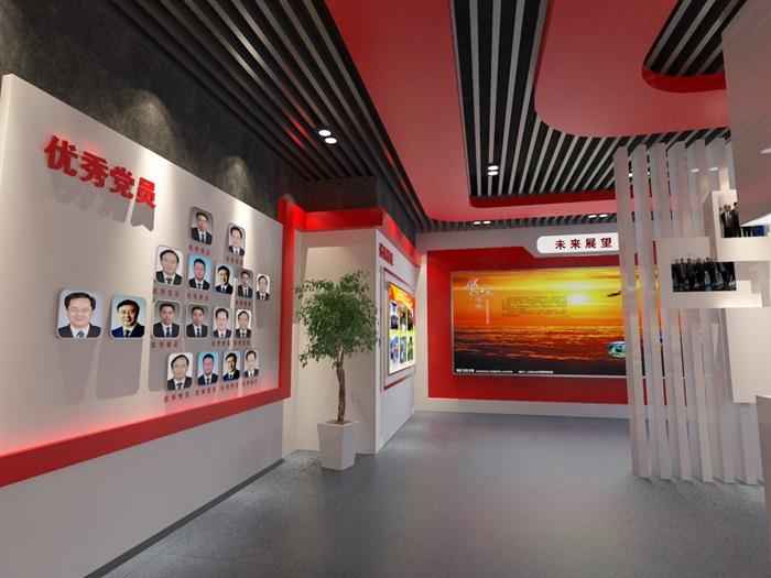 党建荣誉展厅3D模型及效果图(9)
