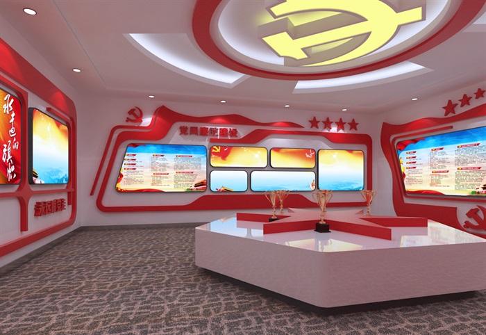 党建展厅系列展馆3D模型及效果图(3)