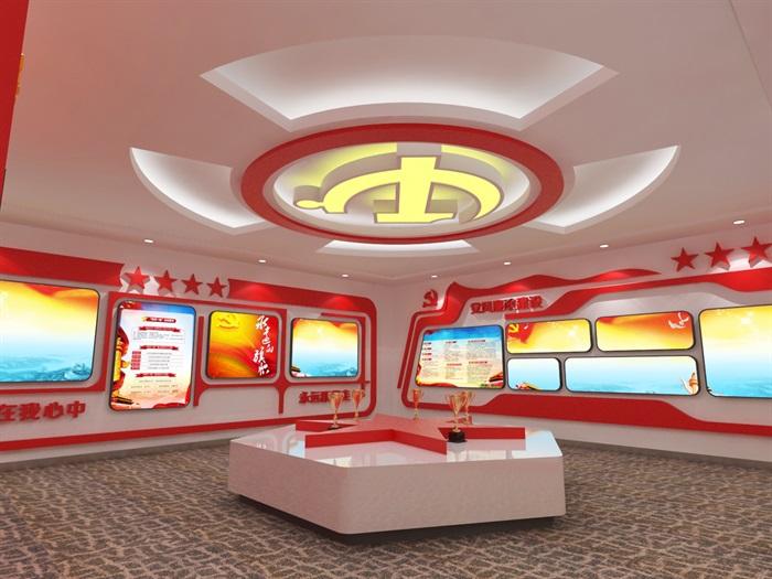 党建展厅系列展馆3D模型及效果图(7)