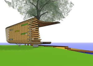 创意参数化木构廊架凉亭休息长椅
