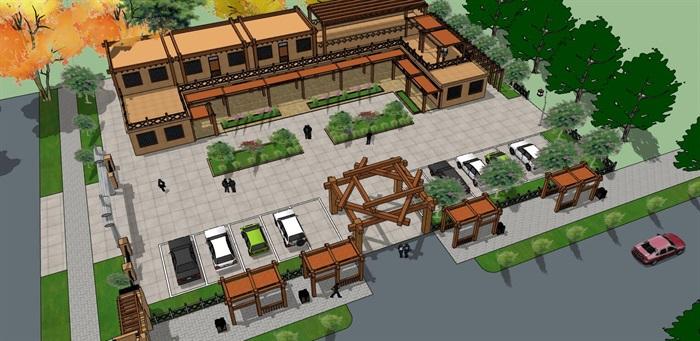 夯土生土建筑农家乐旅游景区生态餐厅休闲站(1)