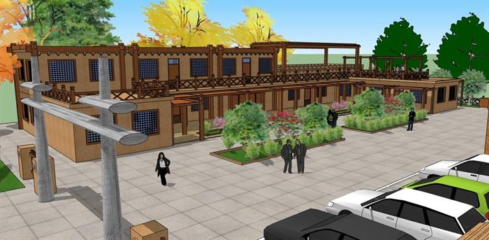 夯土生土建筑农家乐旅游景区生态餐厅休闲站(3)