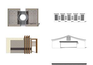 多款新中式景墙SU(草图大师)模型