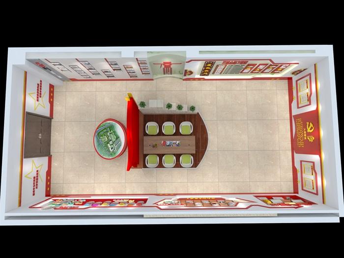 社区党建中心展厅设计3D模型及效果图(1)