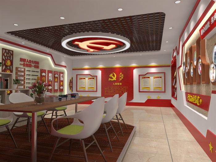 社区党建中心展厅设计3D模型及效果图(3)