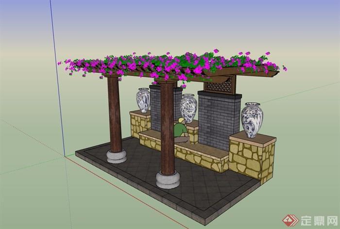 园林景观详细的花架素材su模型