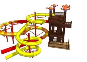 儿童乐园螺旋滑梯主题公园滑梯SU(草图大师)模型