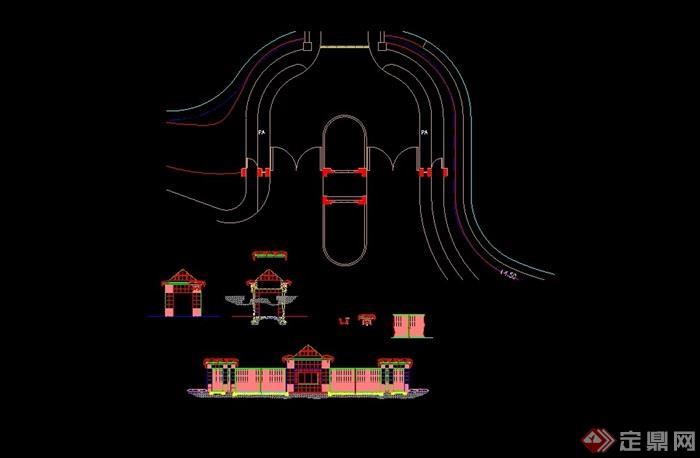 欧式小区大门设计cad方案图