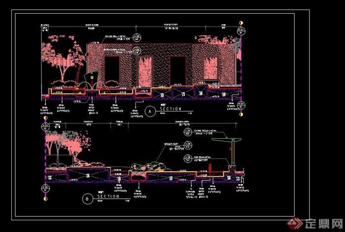 喷泉水池景墙设计cad施工图