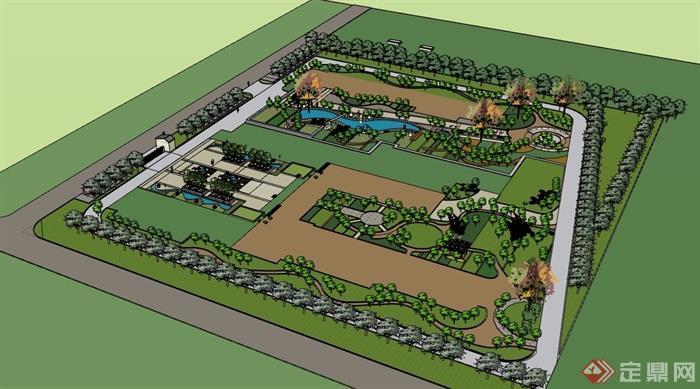某现代住宅小区完整景观设计su模型