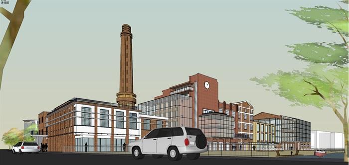 某老厂房区域的改建规划su精细模型喜欢酷(1)