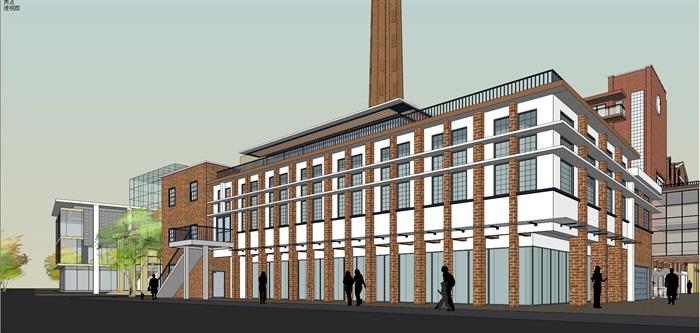 某老厂房区域的改建规划su精细模型喜欢酷(6)