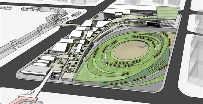 创意螺旋坡道上升式中式文化商业步行街购物综合体市民活动公园组团规划(1)