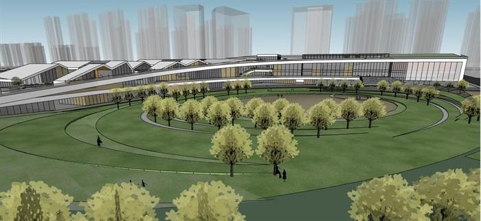 创意螺旋坡道上升式中式文化商业步行街购物综合体市民活动公园组团规划(2)
