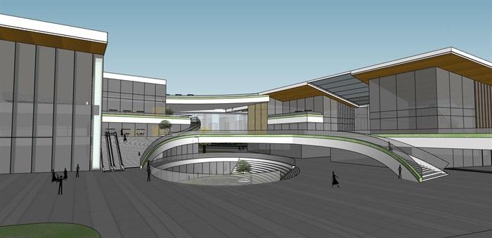 创意螺旋坡道上升式中式文化商业步行街购物综合体市民活动公园组团规划(4)