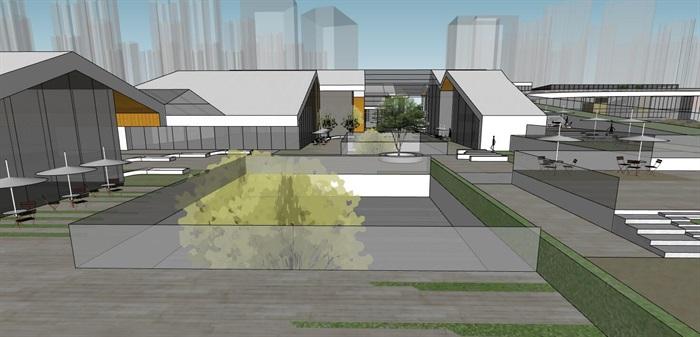 创意螺旋坡道上升式中式文化商业步行街购物综合体市民活动公园组团规划(9)
