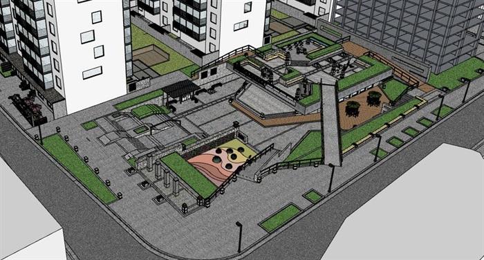街边创意架空式活动休闲市民广场(1)