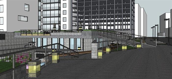 街边创意架空式活动休闲市民广场(7)