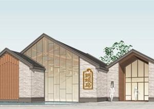 现代新中式坡屋顶组合院落式乡土材料构造乡村旅游游客中心餐饮民宿
