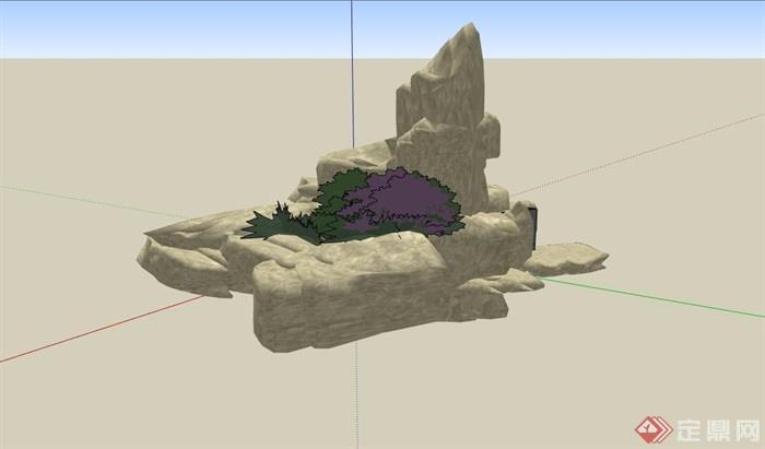 详细的景观石头设计su模型