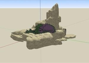 详细的景观石头设计SU(草图大师)模型