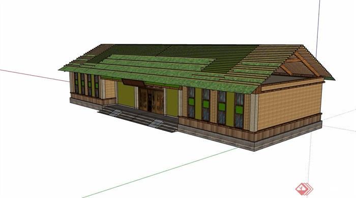 民居单层详细的建筑设计su模型