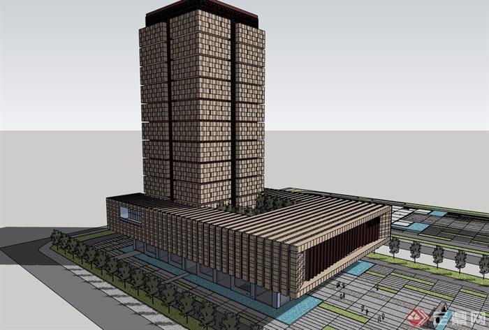 某现代详细的档案馆建筑su模型