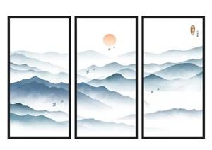 新中式山水装饰画SU(草图大师)模型