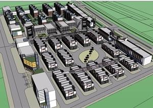混搭详细完整的住宅楼设计SU(草图大师)模型