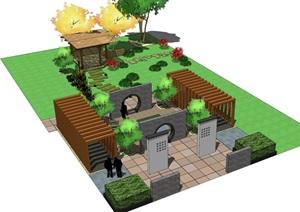 SU草图大师庭院花园模型 .