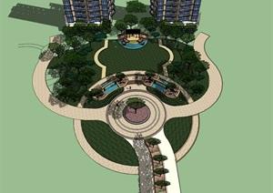 SU草图大师庭院花园模型。。。