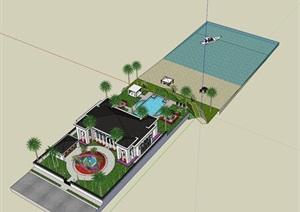 SU草图大师庭院花园模型 。。