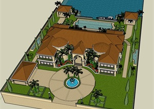 SU草图大师庭院花园模型 。