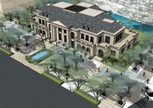 法式会议办公建筑SU(草图大师)模型