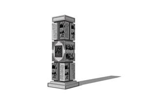 浮雕柱景观石柱SU(草图大师)模型
