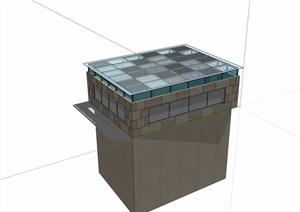 现代玻璃详细的采光井素材设计SU(草图大师)模型