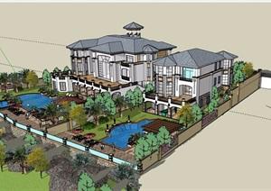 美式详细的小区别墅设计SU(草图大师)模型