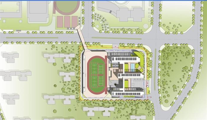 现代创意交流共享新型教学空间中小学校园规划设计su模型 cad 超清效果图 平面填色图 psd 分析文本(10)