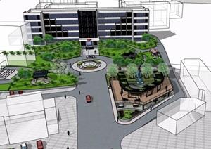 现代办公楼前详细景观设计SU(草图大师)模型