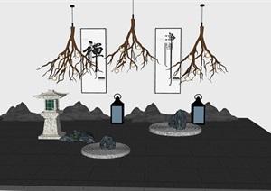 日式枯山水禅意小场景景石小品石灯笼枯树枝造型小品