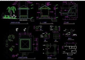 现代休闲凉亭设计cad施工图