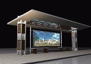 现代风格公交站台设计图纸及效果图